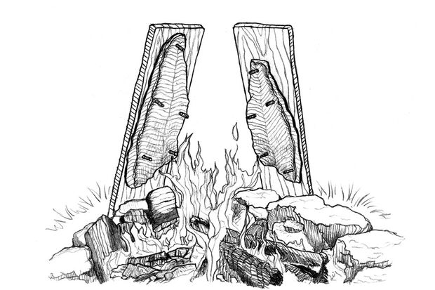 OD 0318 Know How Fisch am Feuer Flammlachs Illustration