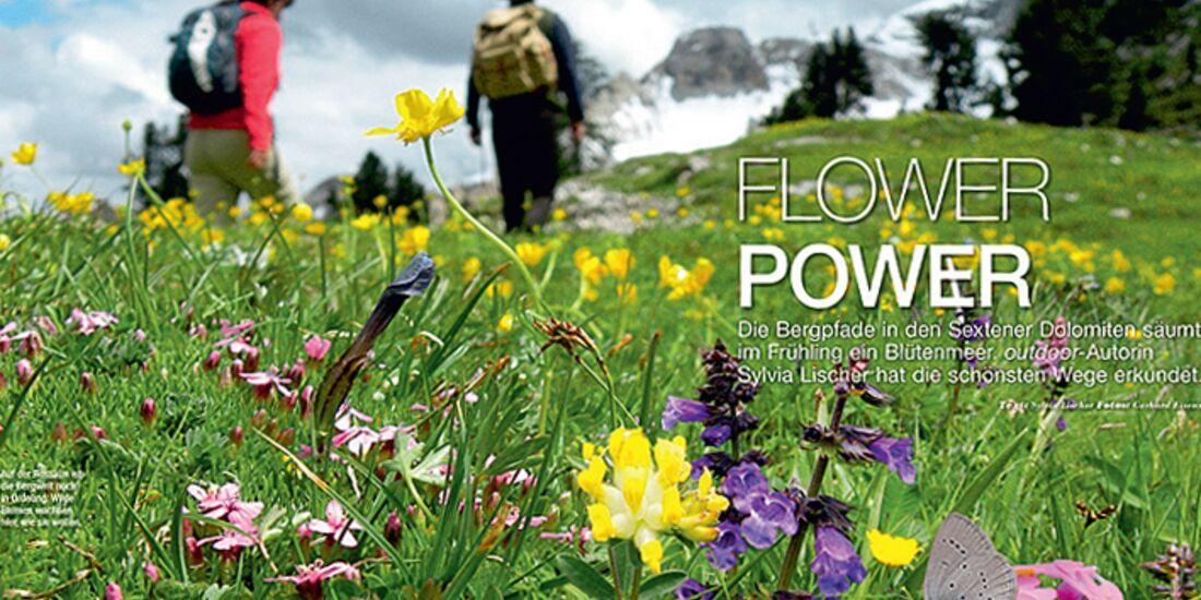 OD 0414 Südtirol Sextener Dolomiten Frühling Blumenwiesen Almwiesen Wandern