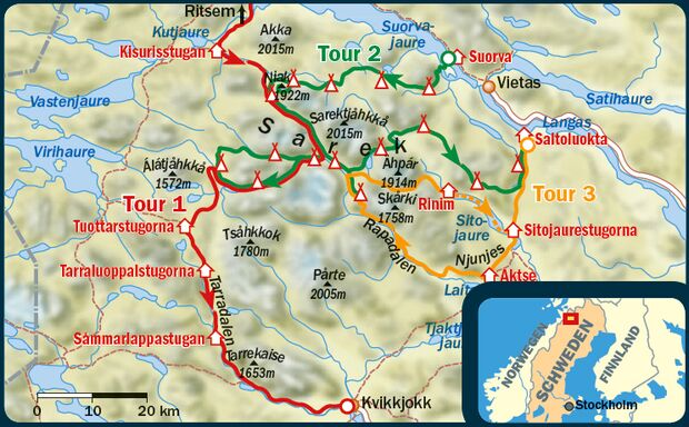 OD 2015 Sarek Schweden Wildnis Karte
